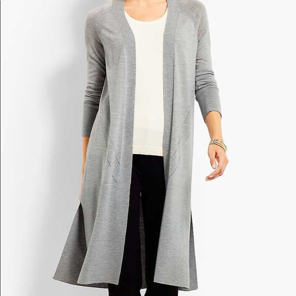 86314616a72  TALBOTS GREY WOOL DUSTER SWEATER M